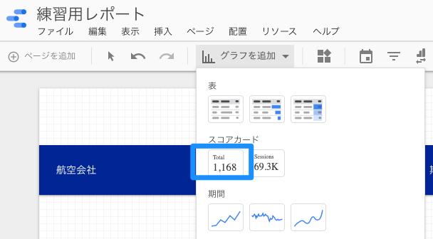 Googleデータポータルでグラフタイプでスコアカードを追加する