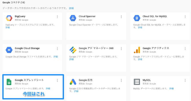 Googleデータポータル 「新しいデータソース」でスプレッドシートを開く