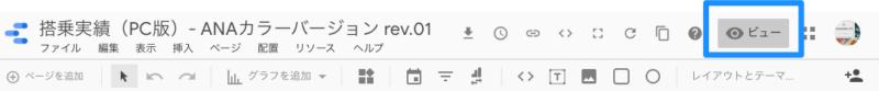 Googleデータポータル のレイアウト設定(編集画面で「ビュー」を押すと閲覧者用のビュー画面に)
