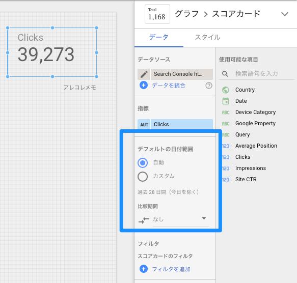 Googleデータポータル・スコアカード(デフォルトの日付範囲の変更)