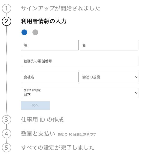 個人契約で「Microsoft365 Business Standard」を使ってみた(氏名、会社名など情報を入力する)