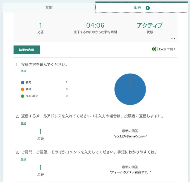 Sharepointで手っ取り早くお問い合わせフォームを作る方法(Formsの管理画面で集計状況を確認する)