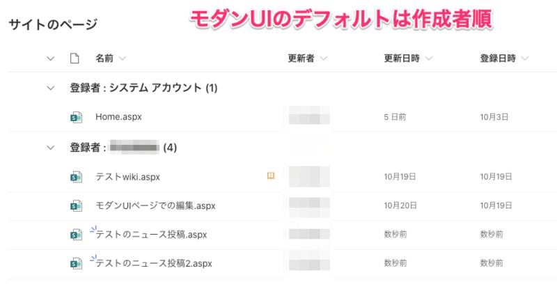 【Tips】Sharepoint「サイトのページ」整理方法(ページライブラリのデフォルトビューは作成者順)