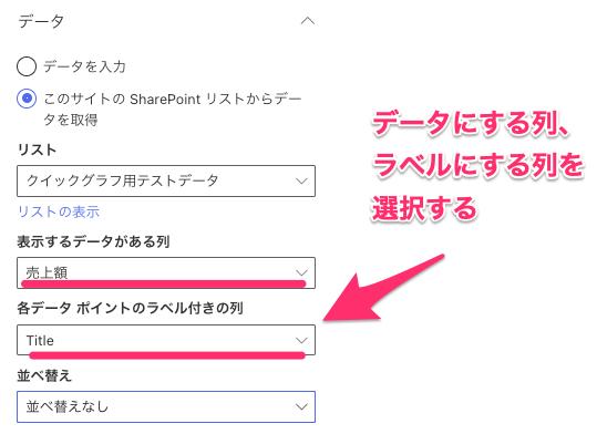 Sharepointのお手軽Webパーツ「クイックグラフ」使い方(ラベルになる列、データになる列を指定する)