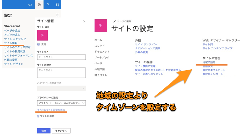 Sharepointタイムゾーン・地域の設定、Power Automateでの時間利用(Sharepointでのタイムゾーン変更方法)