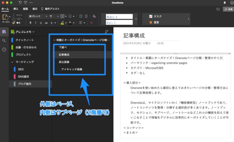 Onenoteページ分類・整理方法(Macアプリで見るページ一覧)