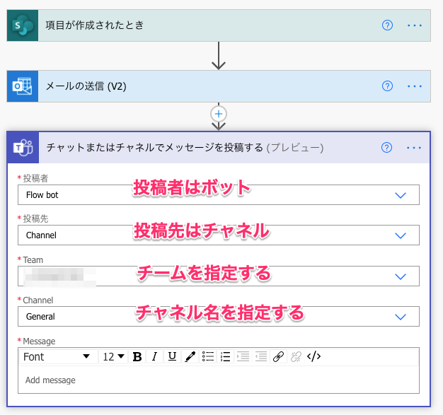 Sharepoint Online通知設定方法。メール・Teams連携、カスタマイズ文面(チーム、チャネルを指定する)