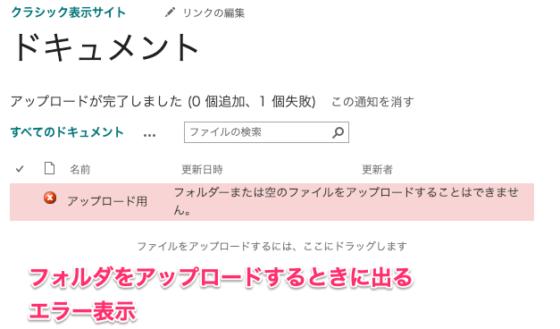 Sharepointドキュメントライブラリとは?(クラシックUIのときはフォルダアップロードができなかった。)